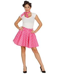 Conjunto pin up cor-de-rosa para mulher